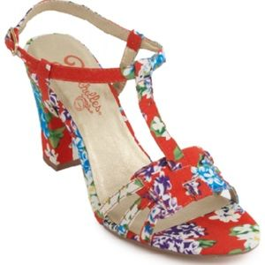 Seychelles Mum Sandals Floral Print 9.5 Red Blue